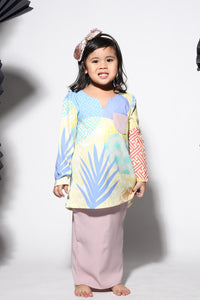 #AYJAPAN Kids Vintage Kurung in Yellow and Dusty Purple