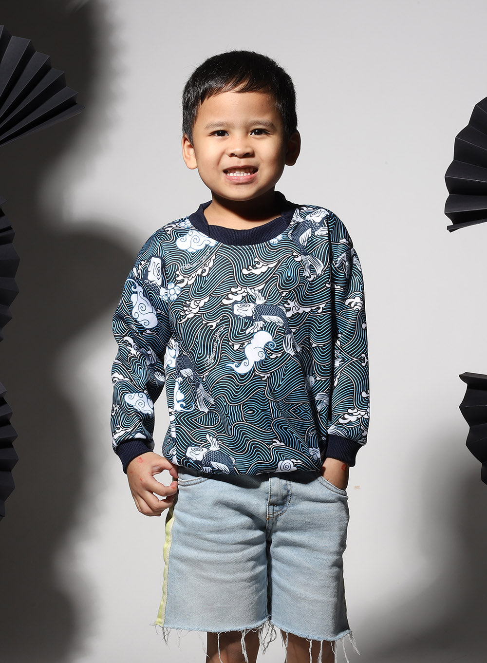 #AYJAPAN Kids Sweatshirt Harajaku in Blue