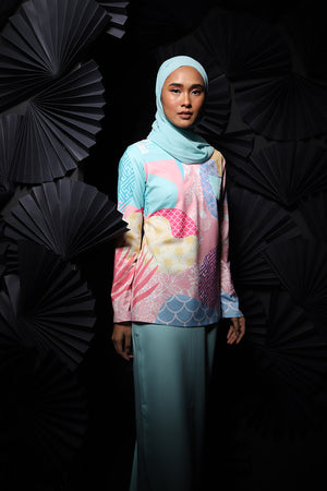 #AYJAPAN Vintage Kurung in Mint Green and Pink