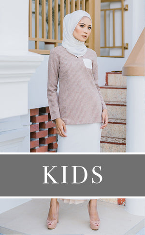 KIDS Vintage Kurung in Brown & White