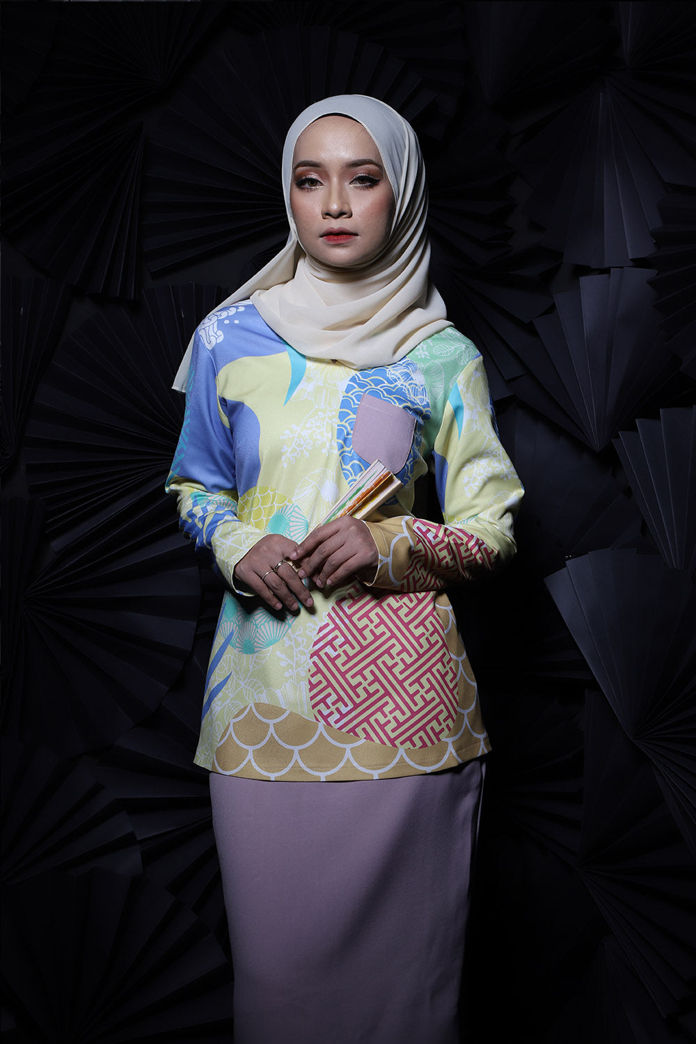 #AYJAPAN Vintage Kurung in Yellow and Dusty Purple