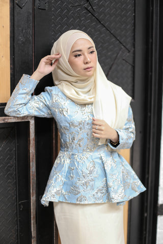Brocade Kurung in Blue