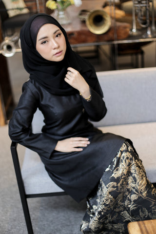 Brocade Kurung in Black