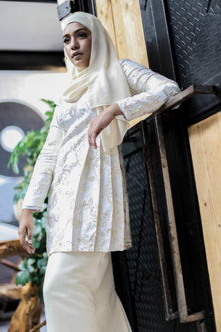 Brocade Kurung in White