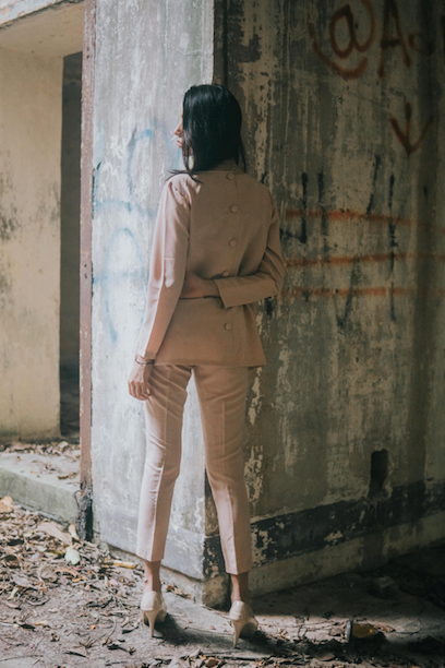 Back buttoned Top and Tapered Pants Set in Nude