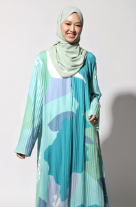 NIHAYA Pleated Dress Carnation in Teal Green