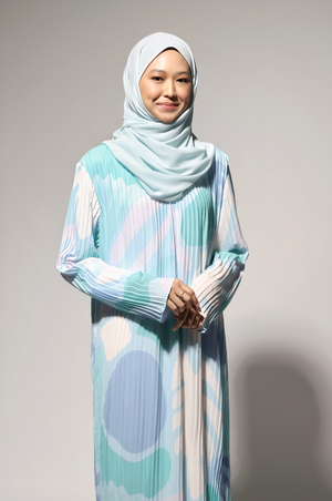 NIHAYA Pleated Dress Gerbera in Baby Blue