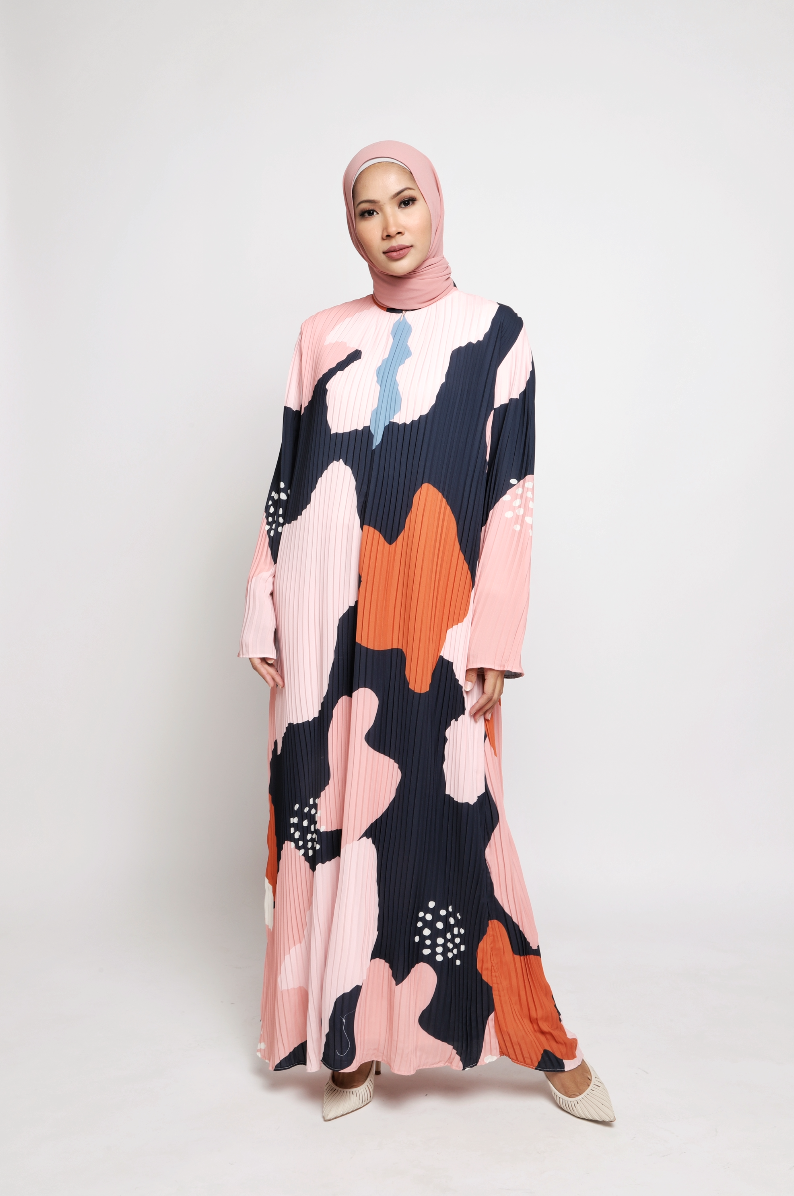 NIHAYA Pleated Dress Pansy in Navy Pink