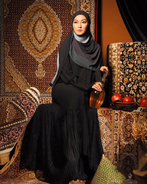 #AYARABIA Black Abaya with Pleated Lace
