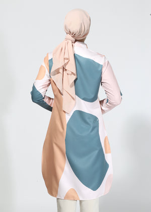 #AYSerenity Buttoned Tunic Shirt in Apricot Pine