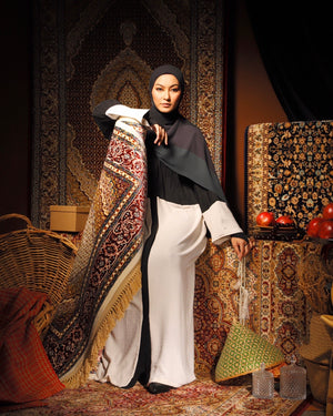 #AYARABIA Half Pleated Abaya in Black & White