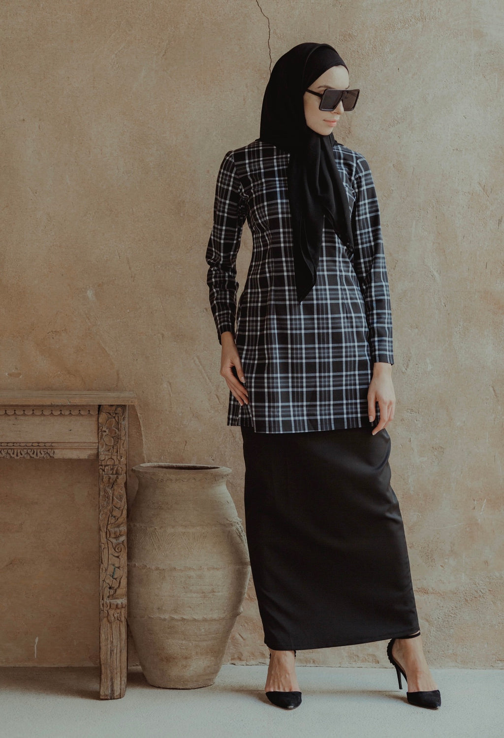 #AYLEBARAN2019 GIRL Kurung Modern Checkered Black