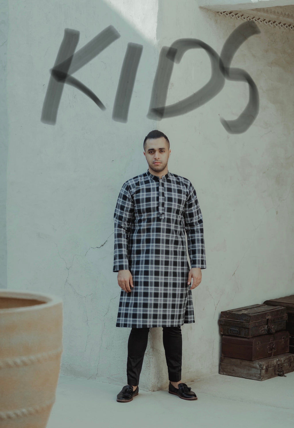 #AYLEBARAN2019 Boy BLACK CHECKERED KURTA