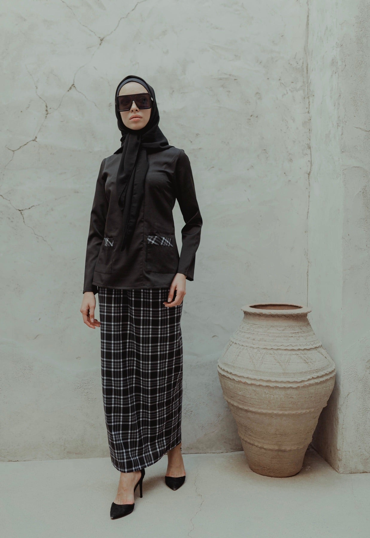 #AYLEBARAN2019 GIRL Kurung Black Checkered With Side Pockets