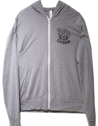 Distressed Print Lightweight Hoodie (Grey)