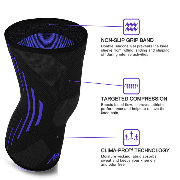 Newzill Blue Knee Sleeve For Men Women Best Quality Compression Wear Stockings For Running Travel Pregnancy Medical Diabetic Varicose Veins Newzill
