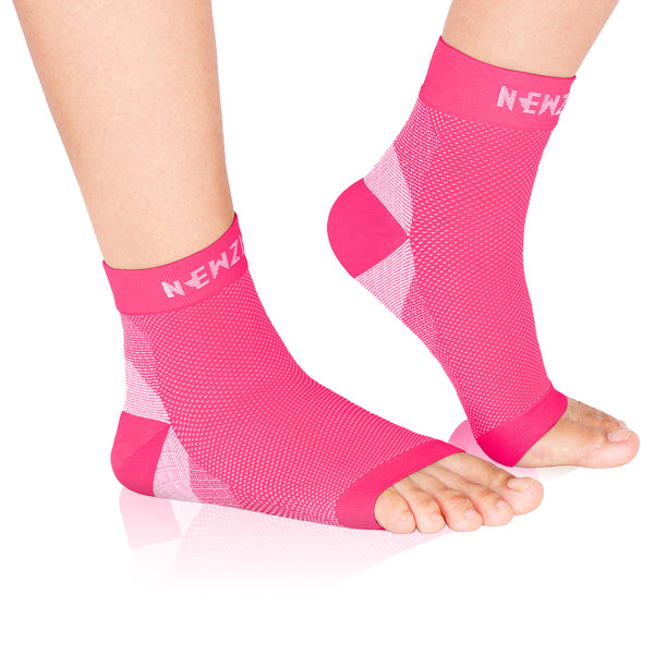 Foot Compression Sleeves, Pink (20-30mmHg)
