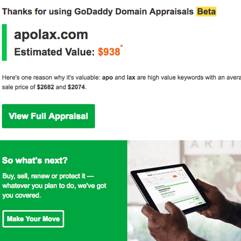 Image of Apolax Domain estimated value on GoDaddy