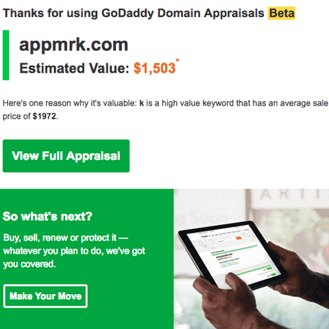 AppMrk estimated value on GoDaddy