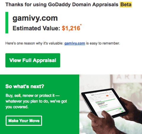 Gamivy.com Domain Appraisal by GoDaddy GoValue
