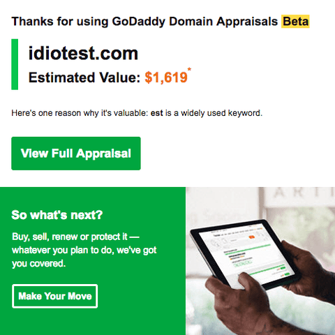 GoDaddy GoValue Valuation for idiotest.com by DnCore
