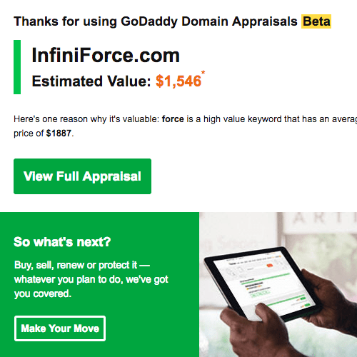 GoDaddy GoValue Valuation for InfiniForce by DnCore