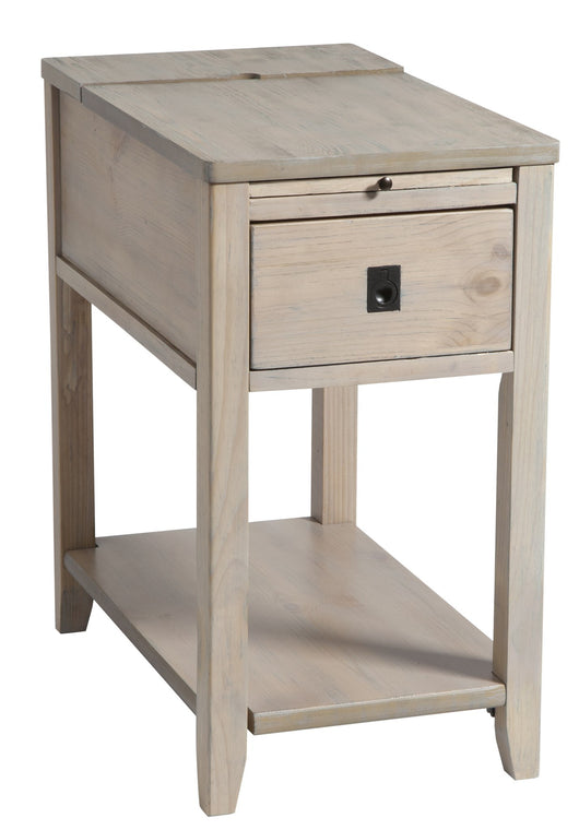 Patton one-drawer chairsider in driftwood finish