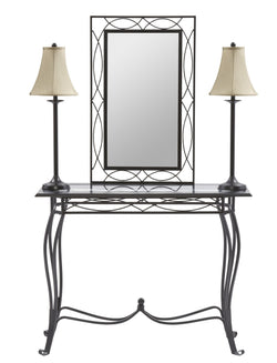4-Piece Table, Mirror, and Lamps set
