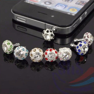 Alloy Bling Rhinestone Crystal Headphone Plug
