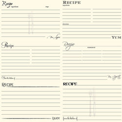 7 Gypsies Black and Ivory Recipe Card Paper