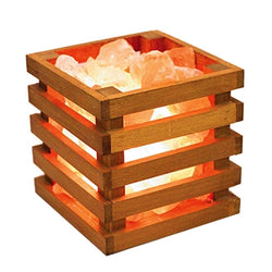 Himalayan Salt Lamp With Wooden Square Basket (Crate)