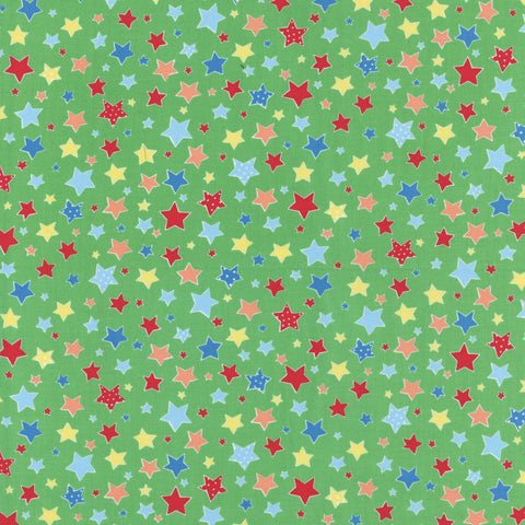 Flower Sugar Holiday Collection - Multi Stars on Green - Lecien