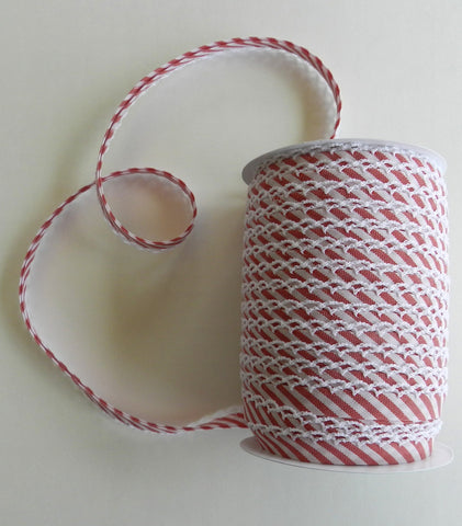 Crochet Edge Bias Tape - Candy Cane Stripe