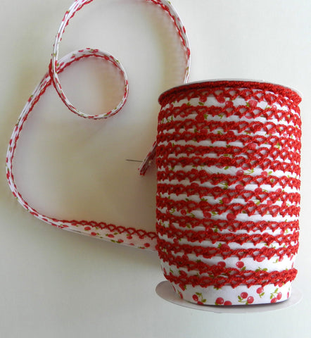Crochet Edge Bias Tape - Cherry Floral