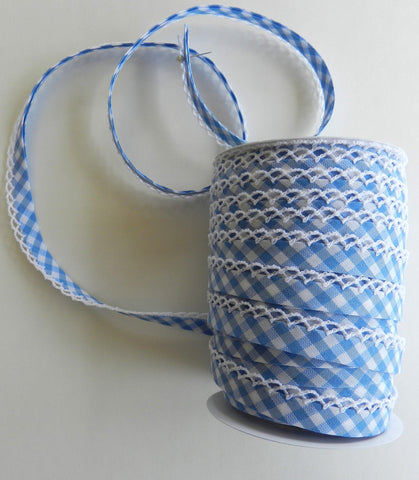 Crochet Edge Bias Tape - Dorothy Blue Gingham