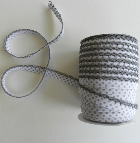 Crochet Edge Bias Tape - Gray Negative Polka Dot