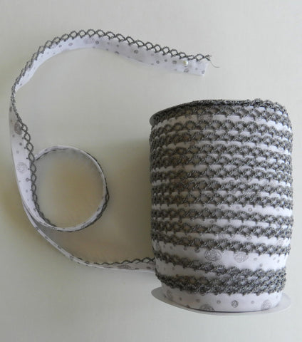 Crochet Edge Bias Tape - Gray Whimsy