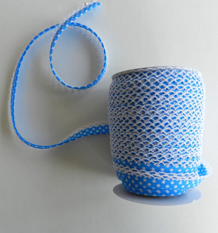 Crochet Edge Bias Tape - Light Blue Polka Dot