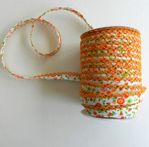 Crochet Edge Bias Tape - Orange Floral with Orange Trim