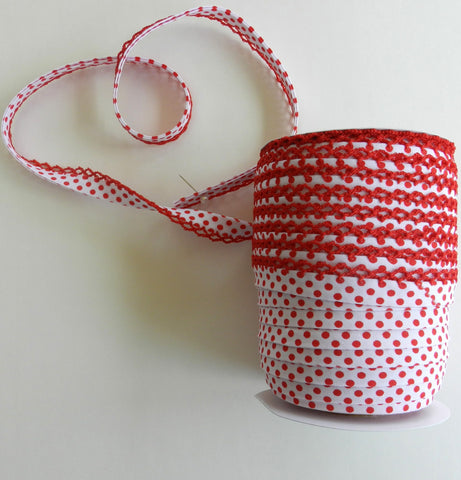 Crochet Edge Bias Tape - Red Negative Polka Dot