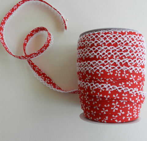 Crochet Edge Bias Tape - Red Pinwheel