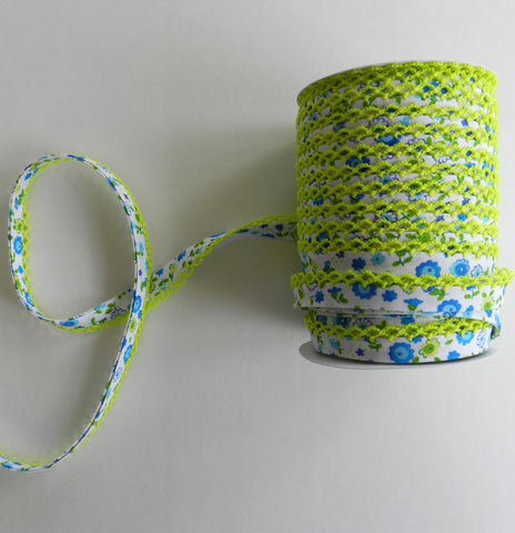 Crochet Edge Bias Tape - Turquoise Floral with Neon Lime Trim