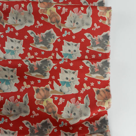50's Kitty- Red -50's Vintage Wrap Collection - Yuwa