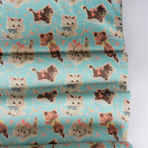 50's Kitty- Light Blue -50's Vintage Wrap Collection - Yuwa