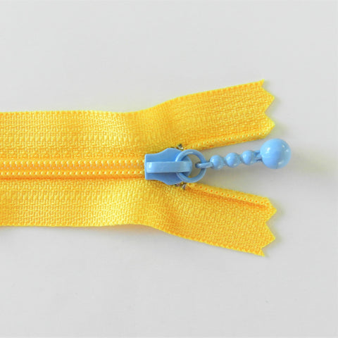 Pearl Drop Zipper - Brights - Yellow with Periwinkle Pull