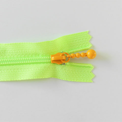 Pearl Drop Zipper - Brights - Neon Green with Orange Pull