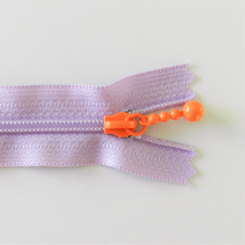 Pearl Drop Zipper - Brights - Lavender with Orange Pull