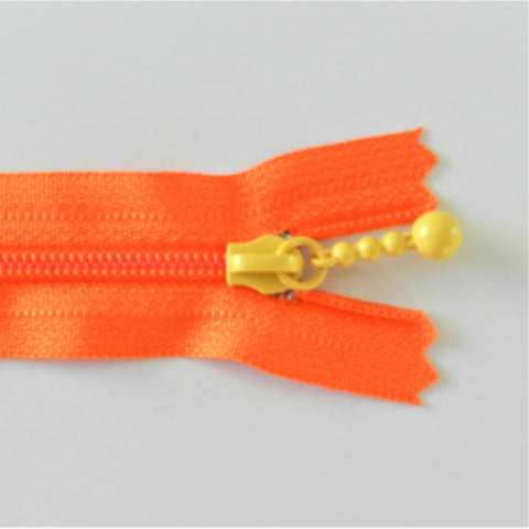 Pearl Drop Zipper - Brights - Orange with Yellow Pull