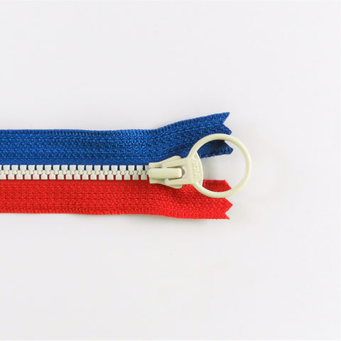Tricolor Zipper - Red/Blue with White pull