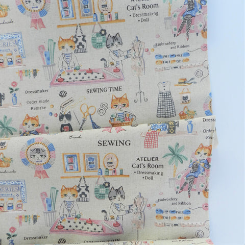 Atelier Cats Room - Off White (Cotton/Linen) - Sobakasu Kids - Yuwa